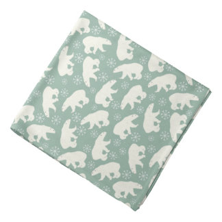 Green Winter Bandana  with Polar Bears