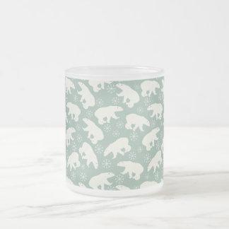 Green Winter-Mug with Polar Bears 10 Oz Frosted Glass Coffee Mug