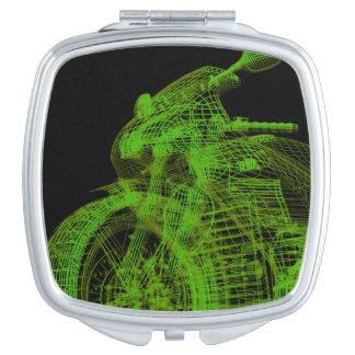Green Wireframe Motorcycle Vanity Mirror