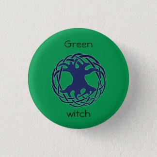Green witch 1 inch round button