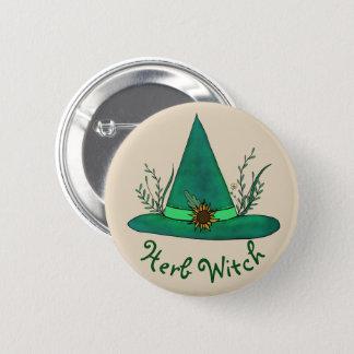 Green Witch Hat Herb Craft Pagan Witchcraft Magic 2 Inch Round Button