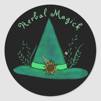Green Witch Hat Herb Craft Pagan Witchcraft Magic Classic Round Sticker