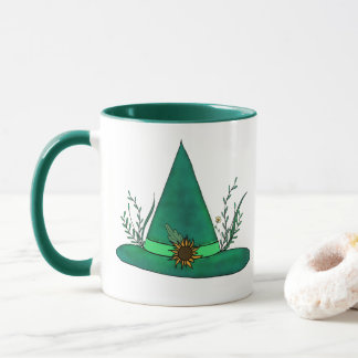 Green Witch Hat Herb Craft Pagan Witchcraft Magic Mug