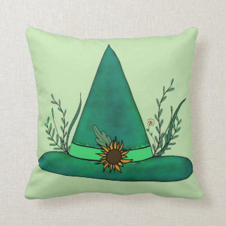 Green Witch Hat Herb Craft Pagan Witchcraft Magic Throw Pillow