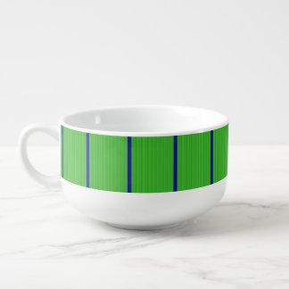 Green with Blue Horizontal Stripes Soup Mug