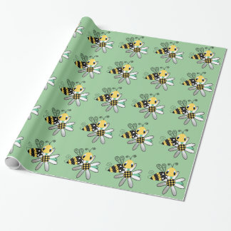 Green With Bumble Bee and Flower Wrapping Paper