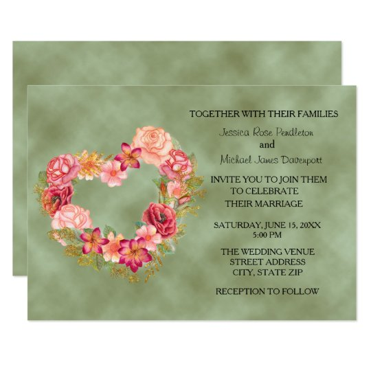 Green with Floral Heart Wreath Wedding Invitation