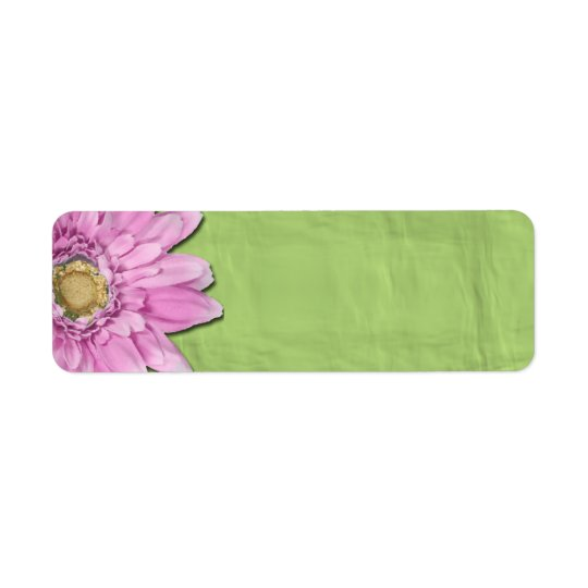 Green with Pink Daisy Blank Labels