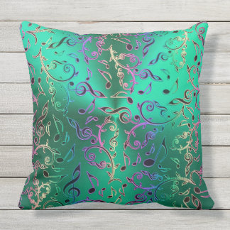 Green With Rainbow Music Notes Pattern Throw Pillow