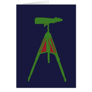 Green with Red Binoculars in Navy Blue background. Card
