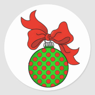 Green with Red Dots Christmas Ornament Sticker