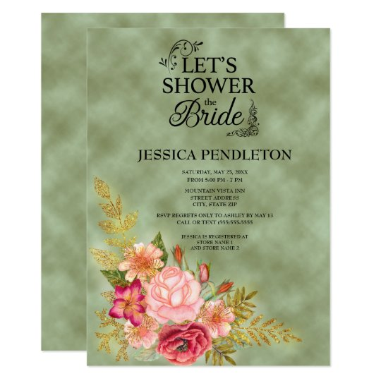 Green with Watercolor Floral Bridal Shower Card