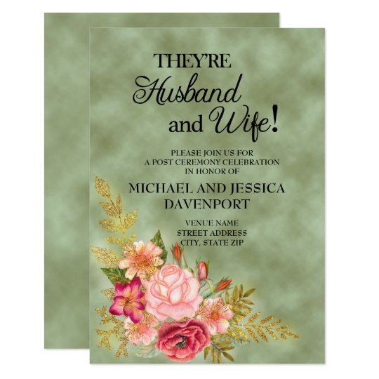 Green with Watercolor Floral Reception Invitation