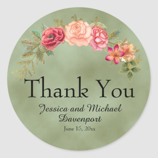 Green with Watercolor Floral Thank You Round Sticker