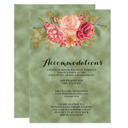 Green with Watercolor Floral Wedding Card