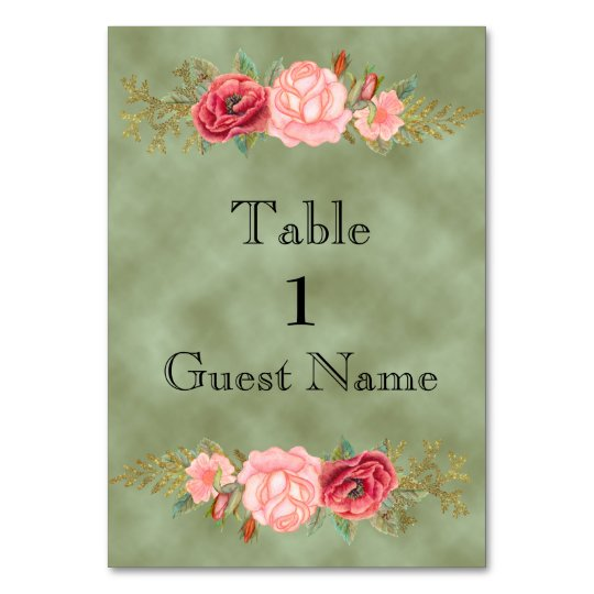 Green with Watercolor Floral Wedding Place Card Table Cards