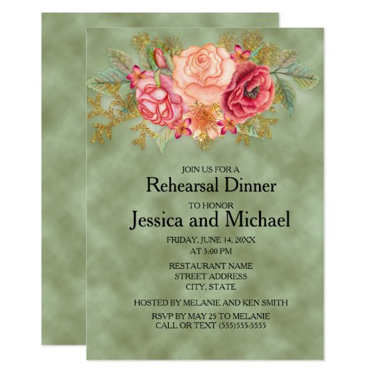 Green with Watercolor Floral Wedding Rehearsal Card
