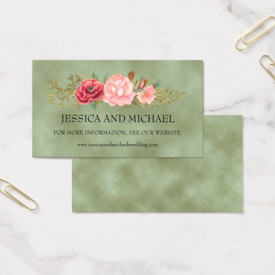 Green with Watercolor Floral Wedding Website Cards