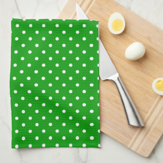 Green with White Polka Dots Kitchen Towel