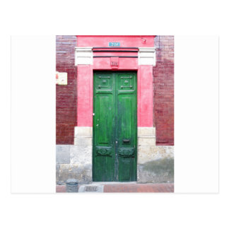 Green wooden doors Colombia Postcard