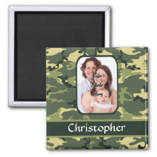 Green woodland camouflage pattern magnet