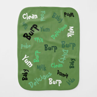 Green Word Play Burp Cloth
