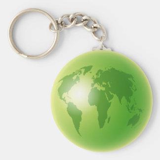 Green World Globe Basic Round Button Keychain