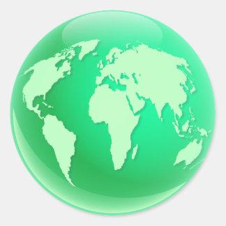 Green World Globe Classic Round Sticker