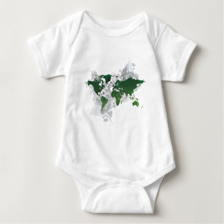 Green World Map Digital Art Baby Bodysuit