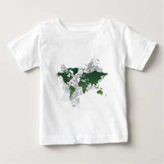 Green World Map Digital Art Baby T-Shirt