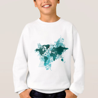 Green World Map Digital Art in Teal/ Turquoise Sweatshirt