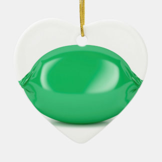 Green wrapped hard candy ceramic ornament