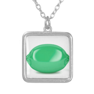 Green wrapped hard candy silver plated necklace
