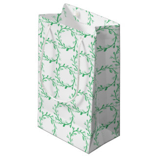 Green Wreath Christmas Wrapping Small Gift Bag