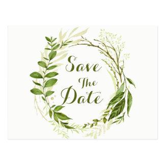 Green Wreath & Laurels Save The Date Wedding Postcard