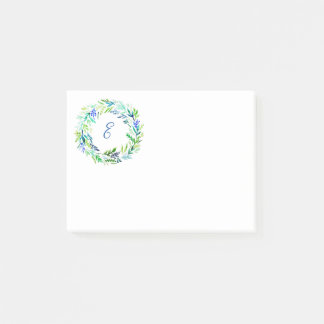 Green Wreath Monogram Post-it Notes