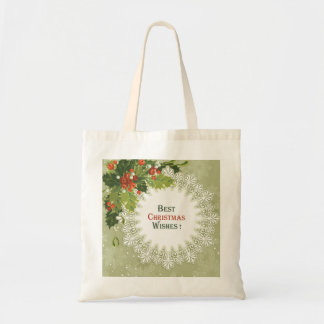 Green Wreath Red Berries- Christmas Tote Bag