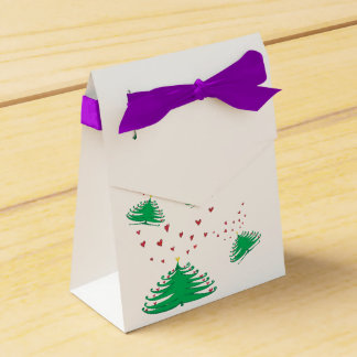 Green X-mas Tree Hearts Love Tent Favor Box