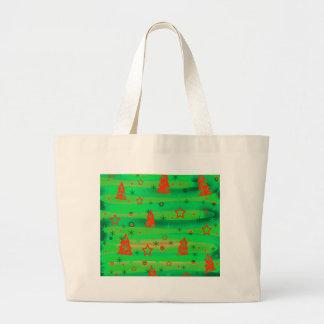 Green Xmas magic Large Tote Bag