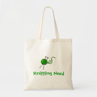 green yarn knitting needles, Knitting Nerd Tote Bag