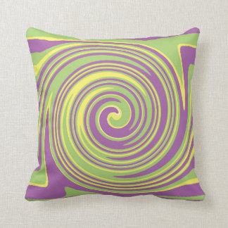 Green yellow and purple twirl pattern throw pillow