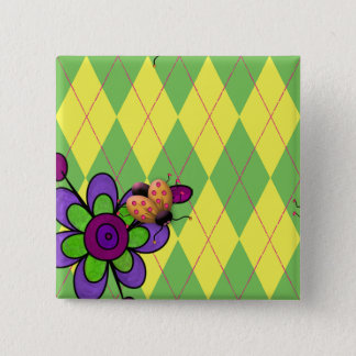Green & Yellow Argyle Ladybug & Flower 2 Inch Square Button