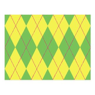 Green & Yellow Argyle Postcard
