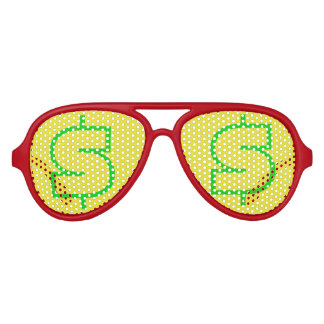 $ Green Yellow Aviator Party Shades, Red Sunglass Party Sunglasses