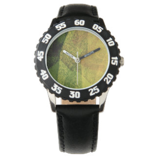 Green yellow black nature forest abstract painting wristwatches