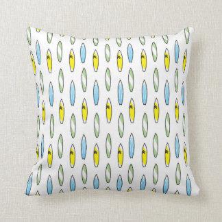 Green yellow blue surfboard pillow