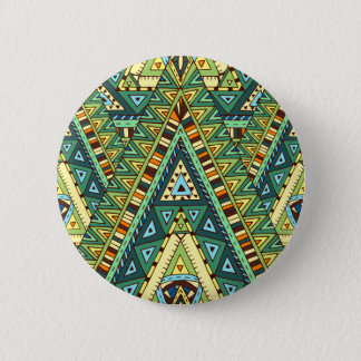 Green yellow boho ethnic pattern 2 inch round button