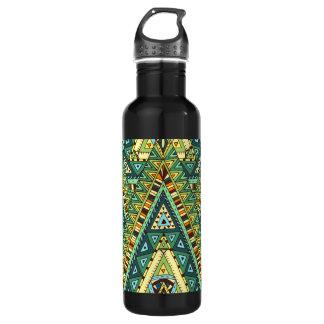 Green yellow boho ethnic pattern 710 ml water bottle