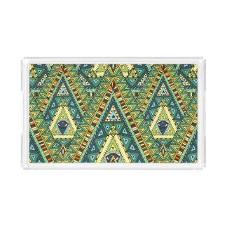 Green yellow boho ethnic pattern acrylic tray