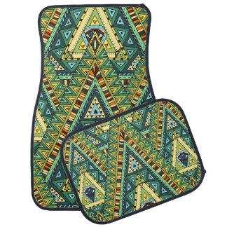 Green yellow boho ethnic pattern car mat